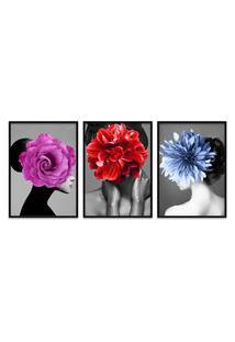 Quadro 60X120Cm Kaira Mulher Com Flores Moldura Preta Com Vidro