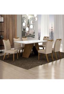 Conjunto De Mesa De Jantar Ii Com 6 Cadeiras Verona Veludo Branco E Palha