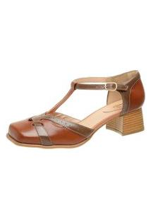 Sapato Bico Quadrado Ref: 3165 Chocolate / Tabaco