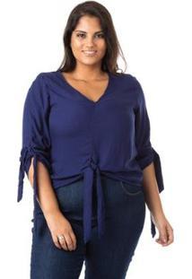 Blusa Crepe Com Laço Plus Size Confidencial Extra Feminina - Feminino-Azul