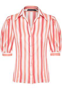 Camisa Feminina Listra Manga Curta - Branco