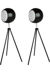 02 Abajures Premier Iluminação Focco 145X18Cm, Metal Na Cor Preta
