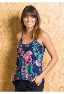 Blusa De Alça Floral Decote Costas Aprofundado