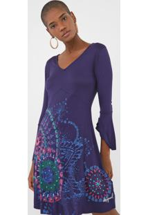 Vestido Desigual Curto Amapola Azul-Marinho