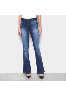 Calça Jeans Biotipo Flare Cintura Média Cinto Feminina - Feminino