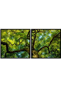 Quadro 65X130Cm Floresta Galho Arvore Folhas Verde Moldura Preta - Decoração Sala De Estar