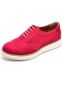 Sapato Oxford Q&A 300 Couro Camurça Fuscia