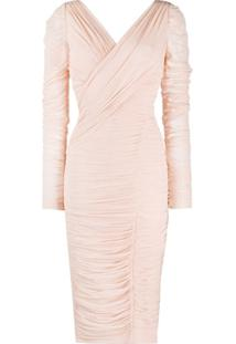 Dolce & Gabbana Ruched Wrap Midi Dress - Rosa