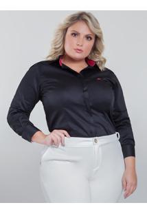 Camisa Social Feminina Preta Plus Size