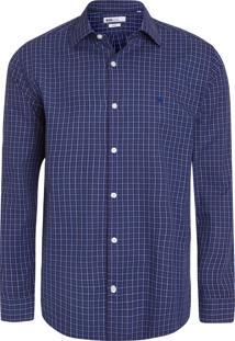 Camisa Masculina Check Classic - Azul