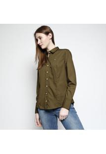 ... Camisa Slim Lisa Com Bordado - Verde Militar   Pretalacoste 993298c5cbb90