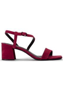 Amaro Feminino Sandália Salto Grosso Assimétrica, Vermelho Escuro
