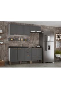 Cozinha Compacta Nevada V 8 Pt 4 Gv Grafite E Branca