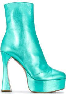 Amina Muaddi Ankle Boot Dua Com Plataforma - Verde