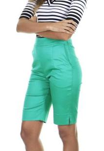 Bermuda Lisa Aha Com Fenda Lateral Feminino - Feminino-Verde