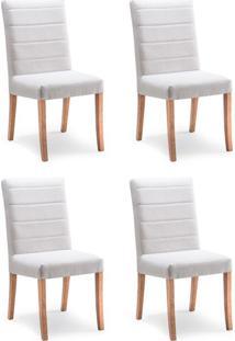 Conjunto Com 4 Cadeiras De Jantar Augusta Creme E Castanho