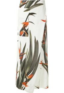 Osklen Calça Pantalona Wrap Strelitzia - Estampado