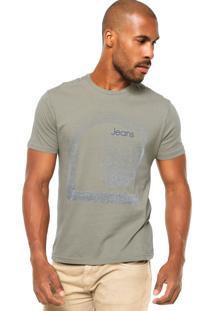 Camiseta Manga Curta Calvin Klein Jeans Estampa Texturizada Verde/Cinza