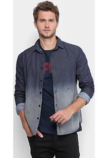 Camisa Jeans Replay Micropadrão Masculina - Masculino-Jeans