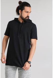 Camiseta Longa Em Moletom Com Capuz Preta