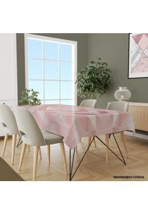 Toalha De Mesa Retangular 10-12 Lugares Geométrico Rosa 1.45M X 3.20M Único