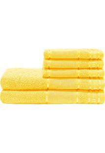 Jogo De Banho Premium Amarelo 285 G/M² 100% Algodão 05 Peças