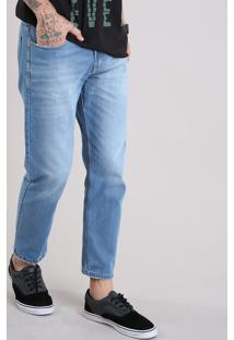 Calça Jeans Masculina Tapered Cropped Eco Recycle Azul Claro