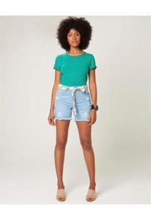 Bermuda Malwee Comfort Jeans Com Faixa Feminina - Feminino-Azul