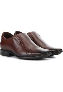 Sapato Social Pegada Bico Quadrado Masculino - Masculino-Marrom Claro