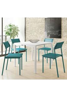 Mesa 1525 Branca Com 4 Cadeiras 1709 Color Uv Turquesa Carraro