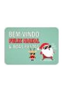 Tapete Decorativo Natal Papai Noel E Cervo Colorido 40X60Cm