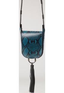 Bolsa De Couro Textura Snake Capuchão Azul Nautico/Grafite