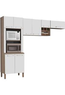 Cozinha Compacta Ametista 8 Portas Composição 3 Nogal/Branco - Kit'S P