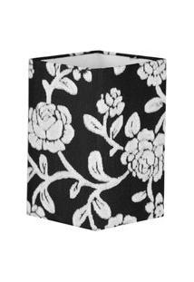 Cúpula Quadrada De Abajur Tecido Floral Prata 12X20Cm
