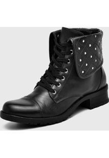 Botinha Feminina Atron Shoes Cano Curto Em Couro Na Cor Preta
