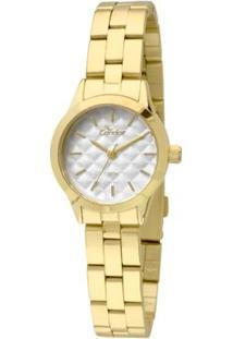 Relógio Condor Feminino Mini - Feminino-Dourado+Branco