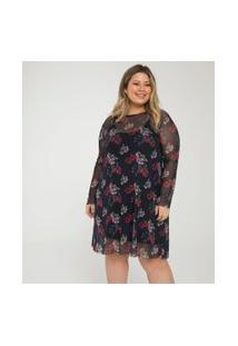 Vestido Floral Em Tule Curve & Plus Size | Ashua Curve E Plus Size | Preto | Eg