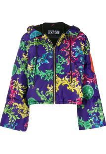 Versace Jeans Couture Jaqueta Matelassê Com Estampa Barroca - Roxo