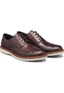 Sapato Casual Couro Élie Brogue Oxford Masculino - Masculino-Marrom