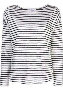 Frame Long Sleeve Striped Top - Branco