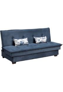 Sofá-Cama Casal 3 Lugares Kate Veludo Azul Com Almofadas Florais