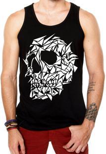 Camiseta Regata Criativa Urbana Caveira Assimétrica Tattoo Preto