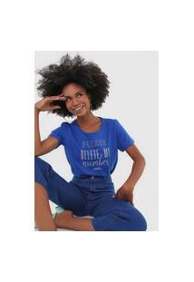 Camiseta Colcci Aplicação Lettering Azul
