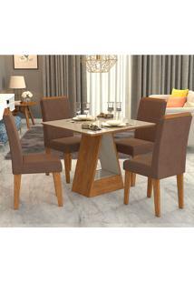 Conjunto De Mesa Com 4 Cadeiras Para Sala De Jantar 95X95 Alana/Milena-Cimol - Savana / Off White / Chocolate