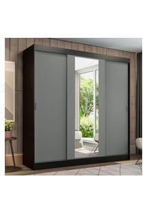 Guarda-Roupa Casal Madesa Reno 3 Portas De Correr Com Espelho Preto/Cinza Cinza