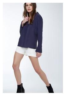 Camisa Seda Polo Ilhos Lisa Inv 19 Azul Tuna