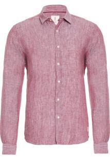 Camisa Masculina Linho - Vinho