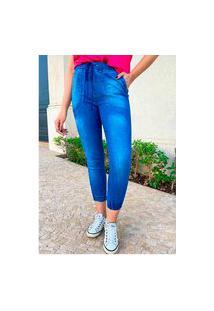 Calça Jogger Jeans Sob Azul Média Com Bolsos E Cordão Sob