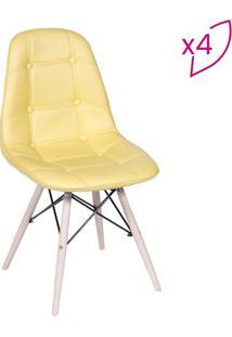 Jogo De Cadeiras Eames Botonãª- Amarelo & Bege Claro-Or Design