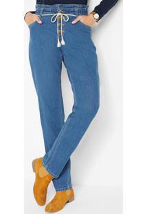 Calça Jeans Clochard Com Cordão Azul